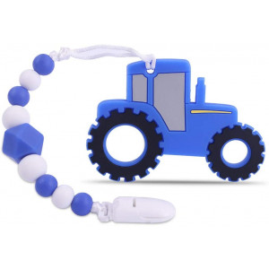 Baby Tractor Car Teething Toys,BPA Free Food Grade  Silicone Teether with Pacifier Clip,Highly Effective Pain Relief for Boy and Girl,Freezer Safe Teething Egg (Blue)