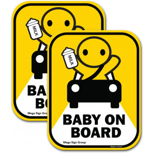 Baby On Board 2 Pack Reflective Car Decal Sticker   Cute Safety Sticker for Your Vehicle to Let Others Know You Have A Child Inside for Your Driving Safety