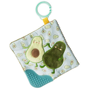 Mary Meyer Crinkle Teether Toy with Baby Paper and Squeaker, 6 x 6-Inches, Yummy Avocado (44141)