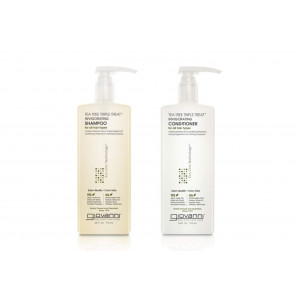 GIOVANNI Invigorating Tea Tree Shampoo and Conditioner Triple Treat Strengthens, and Clarifies, for Itchy Dry Scalp, Wash and Go, Sulfate Free, Paraben Free, Eco Chic, 24 oz.