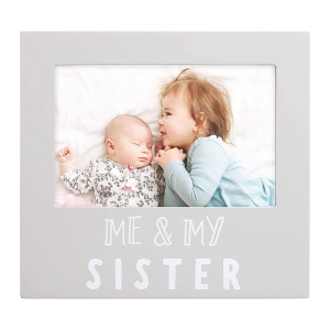 Pearhead Me and My Sister Sentiment Photo Frame, Big Sister or Brother Gift, Sibilng Pictures, Gray