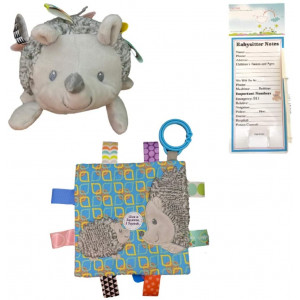 Taggies Heather Hedgehog Squeaker Toy and Crinkle Me Toy with Bonus Dry Erase Refrigerator Magnet