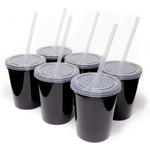 Rolling Sands 16oz Reusable Plastic Stadium Black Cups with Lids, 6 Pack, USA Made; Plastic Tumblers and Lids, Includes 6 Reusable Straws; Top Shelf Dishwasher