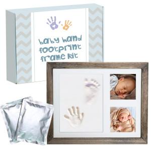 TODUF Baby Handprint Footprint Real Glass Picture Frame Clay Kit with 4 Color Photo Frame interiors, 2 Packs of 100% Safe Clay for Personalized Memento, Newborn Baby Shower Gift Idea