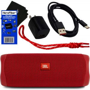 JBL Speaker Flip 5 Wireless Bluetooth Waterproof Portable Speaker (Red) + Matching Wrist Strap + USB Charging Cable and AC Wall Adapter + HeroFiber Ultra Gentle Cleaning Cloth  for JBL Speaker