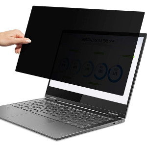 14 Inch Laptop Privacy Screen 16:9 Widescreen, Computer Privacy Screen Filter Protector, Also for Touchscreen (Anti-Spy/Anti-Glare/Anti-Scratch, Reversable Gloss/Matte, Removable, Black)