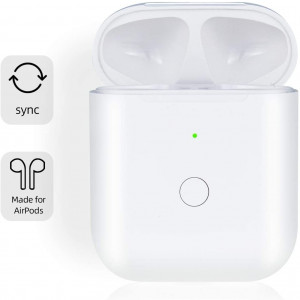 [Upgraded] Charging Case Replacement for Airpods with Sync Button, Wireless Charging Case Compatible with Airpod 1 and Airpod 2, 450mA Built-in Battery, White
