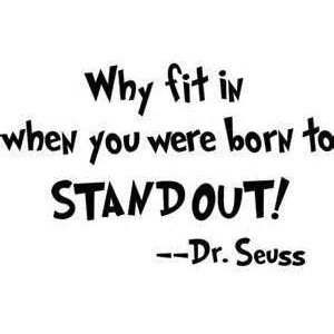 BKS-Why Fit in When You were Born to Stand Out Wall Decal Sticker | Dr Seuss Quote Decal | 7.6-Inches | Premium Quality Black Vinyl Decal