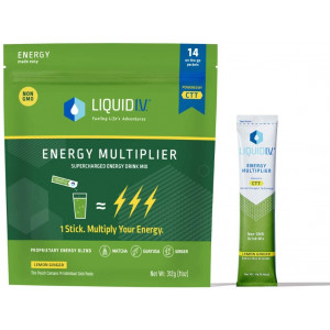 Liquid I.V. Energy Multiplier, Super-Charged Matcha Mix, 9 Essential Vitamins, Natural Caffeine, Easy Open Packets, Supplement Drink Mix, (Lemon Ginger) (14 Count)