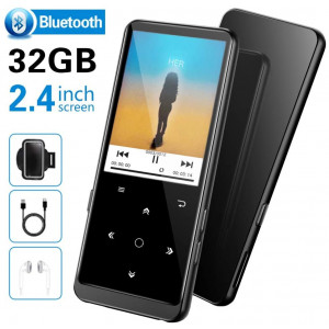 "32GB MP3 Player, SUPEREYE MP3 Music Players with Bluetooth 4.2, MP3 Players with FM Radio and Voice Recording, 2.4"" Screen, HiFi Lossless Sound, Support up 64GB(Earphone, Sport Armband Included)"