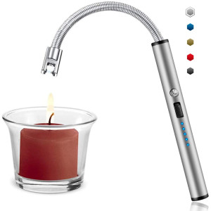 Candle Lighter, Upgraded USB Charging Arc Lighter with 360 Flexible Neck, Suitable Ignite Light Candles Gas Stoves Camping Cooking Barbecue Fireworks Flame, Silver