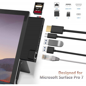 Surface Pro 7 Hub Docking Station with 4K HDMI Adapter+1000M Gigabit Ethernet LAN+ USB C PD Charging +2 Port USB 3.0+SD/TF(Micro SD) Card Reader Converter Combo Adaptor for Microsoft Surface Pro 7