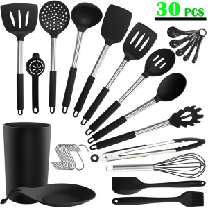 Silicone Cooking Kitchen Utensils Set - ADINC 30PCS Stainless Steel Cooking Utensils Heat Resistant Silicone Spatula Spoons Turner Kitchenware Home Appliances with Holder for Nonstick Cookware Black
