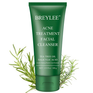 Acne Face Wash, BREYLEE Acne Treatment Facial Cleanser Tea Tree Acne Face Wash With Salicylic Acid To Prevent And Treat Breakouts, Stubborn Acnes And Pimples Gentle and Non-irritating (3.53FL OZ, 100G)