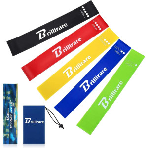BRILLIRARE Resistance Bands Set, 5 Latex Exercise Bands Set, Premium Resistance Loops for Stretching, Physical Therapy, Workout, Yoga, Strength Training, Home Fitness and More