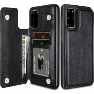 HianDier Wallet Case for Galaxy S20 Plus Slim Protective Case with Credit Card Slot Holder Flip Folio Soft PU Leather Magnetic Closure Cover for Samsung Galaxy S20+ Plus 6.7 Inch, Black