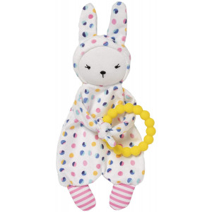 Manhattan Toy Cherry Blossom Days Baby Bunny Soothing Mini Blankie with Removable Silicone Teether