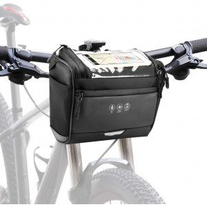 Allnice Bike Handlebar Bag Bike Basket Front Bag Water Resistant Bicycle Storage Bag Cycling Accessories with 6 Inch Touchscreen Window and Detachable Shoulder Strap, 3.5L Large Cpacity (Black)