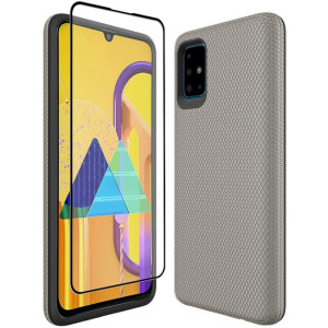 Thinkart Galaxy A51 Case with Tempered Glass Screen Protector,Anti-Slip Non-Slip Texture Protection Hard Cover for Samsung Galaxy A51 Phone (Golden)