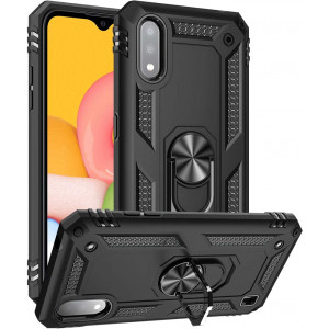 GSDCB Samsung Galaxy A01 Case, Samsung A01 Case, Military Armor Heavy Duty Shockproof Phone Stand Protective Case with Kickstand Hard PC Back Cover Soft TPU Dual Layer for Women Men Girl Boy (Black)