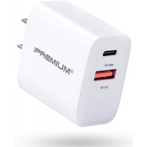 USB C Charger, ipremium 18W Dual Port PD Charger Fast Charger Adapter, USB C Wall Charger for iPhone 11/XS/XR/X/8/7/Plus,iPhone SE, iPad, Galaxy S9/S9 Plus/S8/S8 Plus/S10/Note 9, Pixel 3/4/XL and More