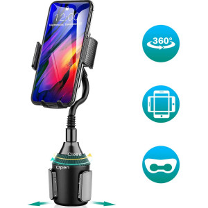 Amwanan Cup Holder Car Mount, 360Universal Adjustable and Easy Clamp Cell Phone Holder with Goose Neck Design Compatible with iPhone, Samsung, Google, LG etc.