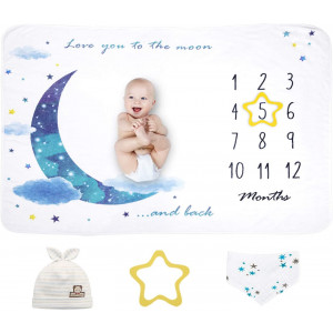 Baby Monthly Milestone Blanket | Extra Soft Fleece Baby Photo Blankets for Newborn 1-12 Months for Boy and Girl, Includes Bandana Drool Bib and Baby Hat