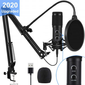 2020 Upgraded USB Condenser Microphone for Computer, Great for Gaming, Podcast, LiveStreaming, YouTube Recording, Karaoke on Computer, Plug and Play, with Adjustable Metal Arm Stand, Ideal for Gift