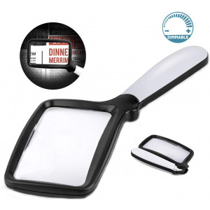 Folding Handheld Magnifying Glass with Light, 3X Large Rectangle Reading Magnifiers with Dimmable LED for Seniors with Macular Degeneration, Newspaper, Books, Small Print, Lighted Gift for Low Visions