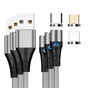 PSENSE 3 in 1 Max 3A Fast Charging and Data Transfer Magnetic USB Cable for iOS, Type-C and Micro USB (Silver) - 3.3 + 6.6 + 6.6Ft/ 3 Pack