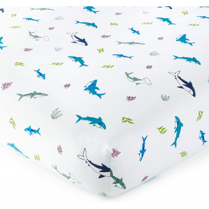 Wildkin 100% Cotton Fitted Crib Sheet,Super Soft and Breathable Cotton Material,Certified Oeko-TEX Standard 100,Measures 28 x 52 Inches,8 Inches Depth,BPA-Free, Olive Kids (Shark Attack)