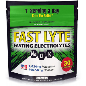 FAST LYTE Fasting Electrolytes for Fasting, Keto, and Intermittent Fasting Diets K4000 mg Potassium 2K Sodium per Serving - Fast and Keto Diet Friendly - 30 Servings - 12x More Electrolytes Supplement