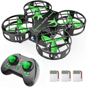 SNAPTAIN H823H Plus Mini Drone for Kids, RC Pocket Quadcopter with Altitude Hold, Headless Mode, 3D Flip, Speed Adjustment and 3 Batteries-Green