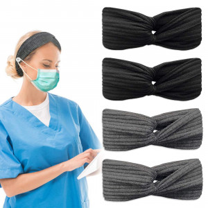 4 Pack Headbands for Women Criss Cross Knotted Headbands for Nurses Doctors with Buttons Elastic Hair Bands for Girls(2Black+2Grey)