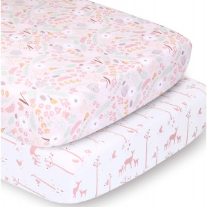 The Peanutshell Crib Sheet Set for Baby Girls   Pink Floral and Woodland Whimsy   2 Pack Set