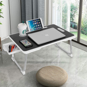 Laptop Desk, CHARMDI Portable Laptop Bed Tray Table, Lap Desk,Couch Table,Bed Desk with Handle and Desktop Card Slot and Cup Slot and Side Drawer for Bed/Sofa- Black and White