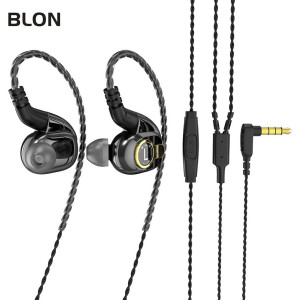 HiFi in Ear Monitor, BLON BL05 in Ear Earphone,10mm Carbon Diaphragm Dynamic Drive Bass HiFi DJ in Ear Monitor, in Ear Headphone with 2pins Detachable Cable Wired Earphone(Gun with Mic)