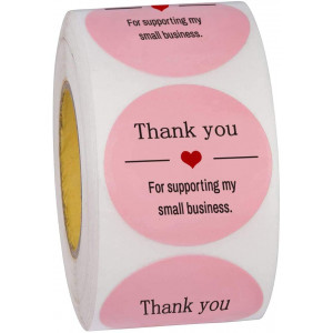 Thank You for Supporting My Small Business Stickers-Round 1,5 inches Pink Thank You Stickers Roll Labels|Used for Business,Online Sellers,Boutiques, Small Shops (500pcs)
