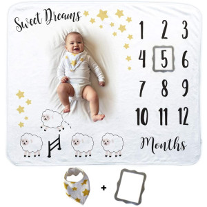 Baby Monthly Milestone Blanket | Includes Bib and Picture Frame | 1 to 12 Months | Premium Extra Soft Fleece | Best Photography Backdrop Photo Prop for Newborn Boy and Girl