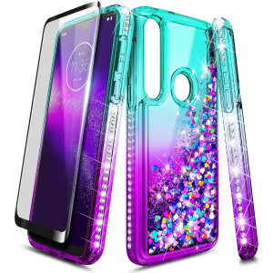 E-Began Phone Case for Moto G8 Plus/Moto G8+ (2019 Release) with Tempered Glass Screen Protector (Full Coverage), Sparkle Glitter Flowing Liquid w/Bling Diamond, Durable Girls Women Cute -Aqua/Purple