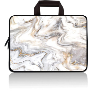 14 15 15.4 15.6 inch Laptop Handle Bag Computer Protect Case Pouch Holder Notebook Sleeve Neoprene Cover Soft Carrying Travel Case for Dell Lenovo Toshiba HP Chromebook ASUS Acer (Marble)