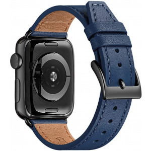 BesBand Watch Band Compatible with Apple Watch Band 38mm 40mm 42mm 44mm for Men and Women,Genuine Leather Replacement Strap for iWatch Series 5/4/3/2/1 (Navy/Black, 38mm 40mm)