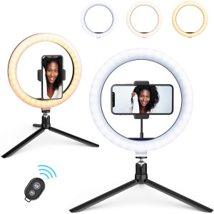 """10.2"""" Ring Light, Beemoon Desk Selfie Ring Light with Tripod Stand Universal Phone Holder Bluetooth Remote Control USB Power for Live Stream Makeup YouTube TikTok"""