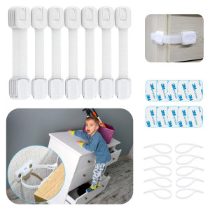 Cabinet Locks Child Safety Latches - 30 Pcs Baby Proofing Kit, 10 Furniture Straps Wall Anchors for Dresser, Bookshelf, 10 Drawer Locks with 10 Extra 3M Adhesives, Multi-Purpose for Kitchen, Toilet