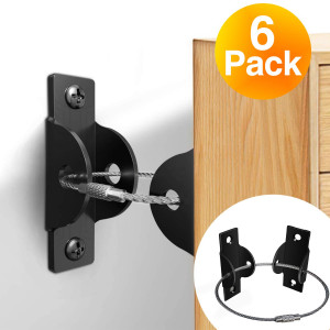 Furniture Straps (6 Pack),Metal Furniture Anchors for Baby Proofing Safety, Anti Tip Furniture Kit, Secure Furniture Wall Straps for Dresser Cabinet Bookshelf