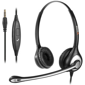 Cell Phone Headset with Microphone Noise Cancelling and Call Controls, 3.5mm Computer Headphones for iPhone Samsung PC Business Skype Softphone Call Center Office, Clear Chat, Ultra Comfort