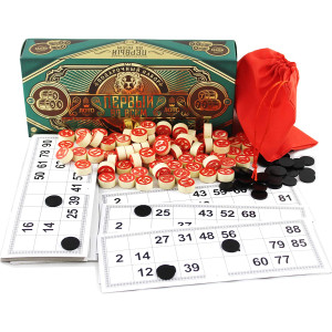 Russian Bingo Game Set for Family - Russian Lotto Board Games - Tambola Kit of Wooden Barrels Loteria Cards Bingo Toys Chips