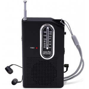 AM FM Portable Pocket Radio, Battery Operated Compact Transistor Radios with Great Reception, Built-in Speaker and Headphone