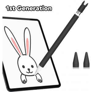 Silicone Case for Apple Pencil 1st Generation Holder Sleeve Skin Pocket Cover Accessories for iPad Pro 9.7/10.5/12.9, Cute Soft Grip Pouch with Charging Cap Holder and 2 Protective Nib Covers (Black)