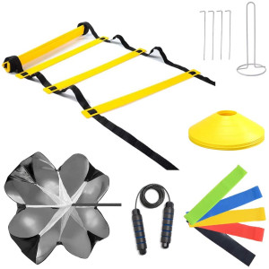 Speed Cones Training and 20ft Agility Ladder Set - Exercise Workout Equipment to Boost Fitness and Increase Quick Footwork - Kit for Soccer, Lacrosse, Hockey and Basketball - with Carry Bag